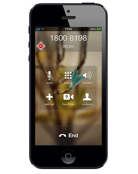 Giao diện khi ứng dụng đang hoạt động song song với cuộc đàm thoại.