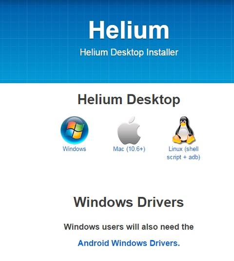 Cài đặt thêm ứng dụng Helium trên máy tính trước khi sử dụng Helium trên thiết bị Android