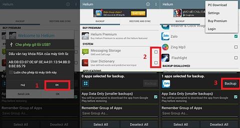 Chọn ứng dụng, chọn Backup để bắt đầu sao lưu dữ liệu