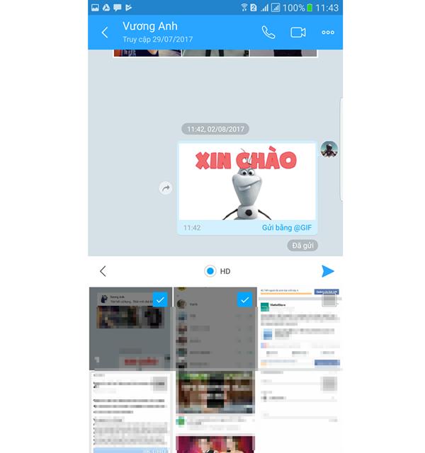 Hướng dẫn gửi ảnh HD qua Zalo, Facebook (2)