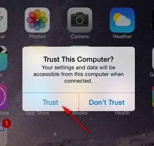 Sau đó bạn sử dụng dây Cable kết nối iPhone với máy và chọn Trust hoặc (Tin cậy)