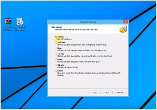 """Xác định file cần khôi phục, để có hiệu quả tốt nhất bạn nên chọn """"All files"""" và nhấn """"Tới"""""""
