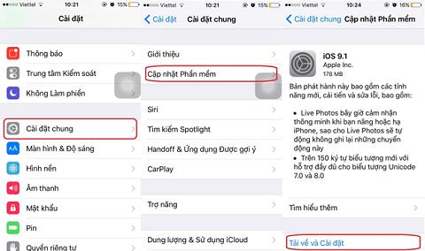 Hướng dẫn nâng cấp iOS 9.1 qua OTA và iTunes
