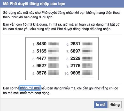 Danh sách 10 đoạn mã ngẫu nhiên mà bạn có thể sử dụng để đăng nhập vào Facebook