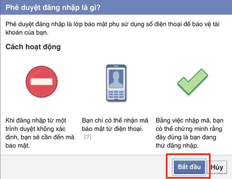 """Chọn nút """"Bắt đầu"""" để thiết lập 2 lớp bảo mật cho Facebook của bạn"""