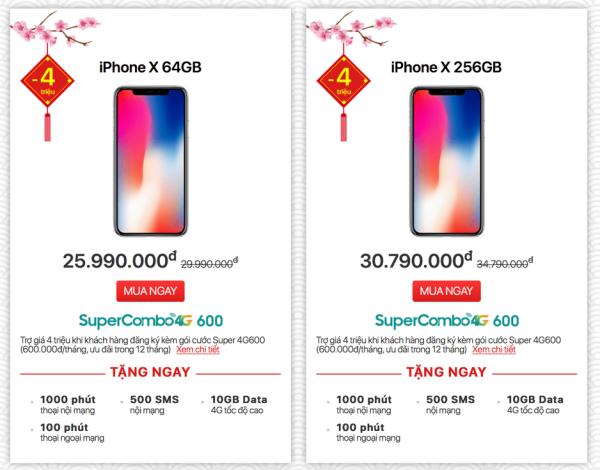 iPhone X giảm giá cực khủng với chương trình Super Combo 4G độc quyền tại Viettel Store