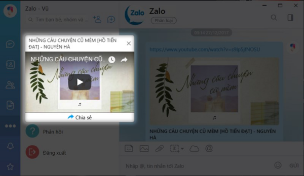 Các đường link từ YouTube, Zing Mp3 hay SoundCloud khi được gửi đều có thể thu nhỏ cửa sổ kéo thả khắp màn hình.