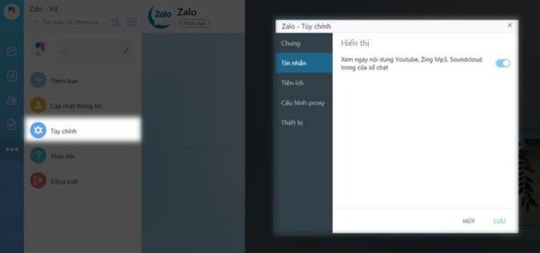 Kích hoạt tính năng thu nhỏ cửa sổ Zalo trên máy tính