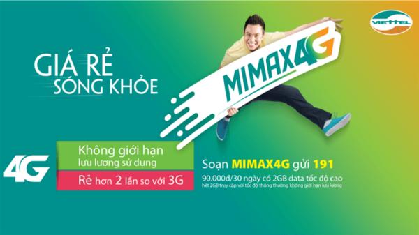 Nhằm giúp người dùng tiếp cận mạng di động 4G, Viettel đã chính thức cho ra mắt gói cước không giới hạn lưu lượng MiMax 4G