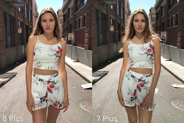 Môi trường xung quanh cùng họa tiết trên áo cô gái đều được iPhone 8 Plus thể hiện sắc nét hơn