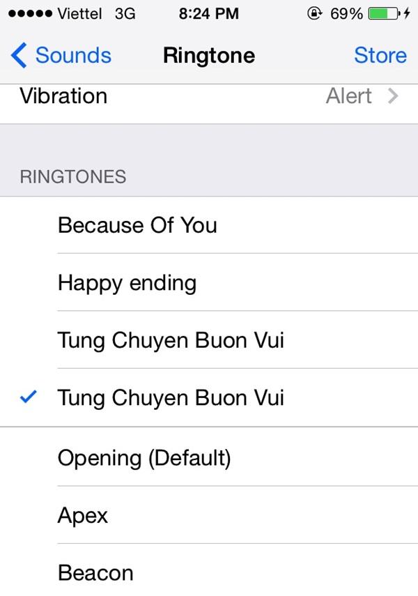 Chọn đoạn nhạc chuông trong phần Setting của điện thoại