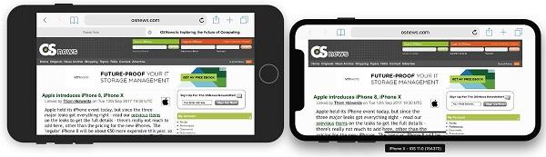 So sánh khả năng hiển thị của màn hình iPhone 8 Plus và iPhone X khi xoay ngang