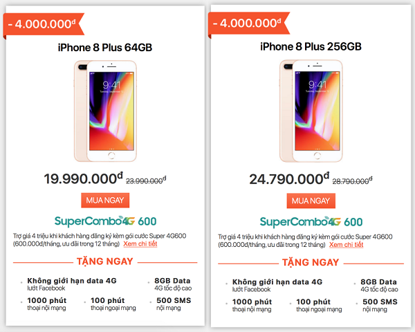 Mua iPhone 8 Plus kèm hợp đồng nhà mạng: xu hướng đang hot trong dịp cuối năm