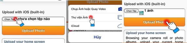 3 thao tác bạn cần lưu ý trong bước 6: chọn tệp, chọn thư viện ảnh và chọn ảnh từ thư viện