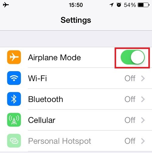 Chế độ máy bay trên iPhone