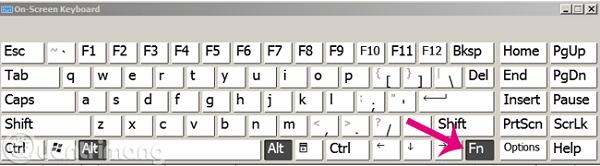 Bấm nút Fn để hiển thị dòng phím Function trên bàn phím ảo