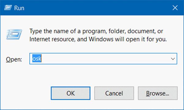 Nhập OSK tại cửa sổ Run để mở bàn phím ảo