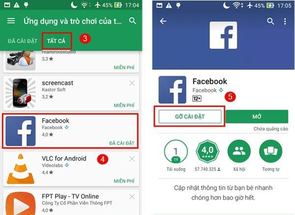 Xóa Facebook Apps trên Android bằng Google Play