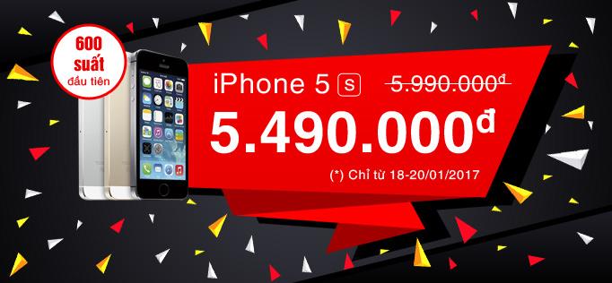 Đợt giảm giá cuối cùng trong năm Bính Thân – IPHONE 5S chỉ còn 5.490.000 vnđ