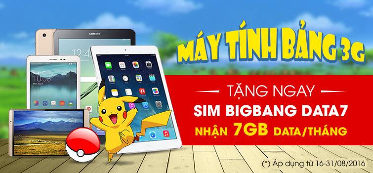 Máy tính bảng 3G - Tặng ngay sim Bigbang data7 - Nhận 7GB Data/tháng